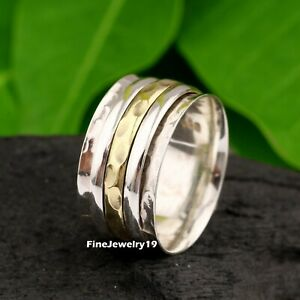 925-Sterling-Silver-Spinner-Ring-Wide-Band-Meditation-Statement-Jewelry-A487