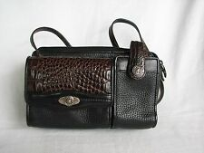 BRIGHTON Black/Brown Small Organizer Crossbody Purse Bag-VERY NICE
