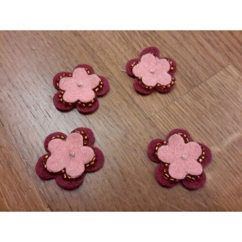 N 7 Applicazioni in tessuto panno a forma di fiore colore bordeaux e rosa 7935