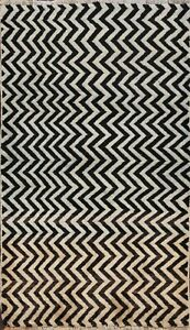Zig-zag-Design-Gabbeh-Chevron-Hand-knotted-Wool-Area-Rug-Oriental-Carpet-3x5-ft