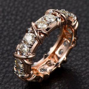 3mm Round Moissanite Wedding Band Full Eternity Anniversary Ring 14k