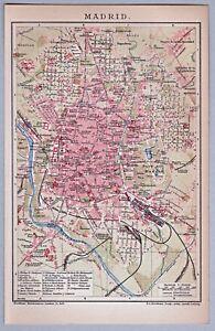Madrid-Spain-Spanien-Alte-Karte-Stadtplan-1904-Lithographie