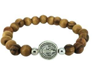 Olive Wood Beads St Benedict Rosary Bracelet Cross Charm Catholic Saint Bracelet