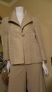 NEW-ST-JOHN-BEAUTY-BEIGE-BROWN-Sleeve-Jacket-Blazer-Sz-6-or-8-Rt-895