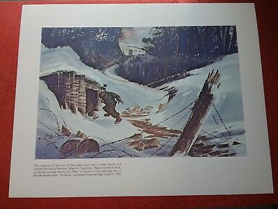 "Marine Made Bunker /""Incoming/"" Korea Hugh Cabot III 1953 Lithograph Art Poster"