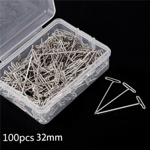 X100 32mm Silver Metal T Pins For Knitting Modelling Wigs Sewing Craft DIY ~