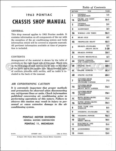 Service & Repair Manuals 1963 Pontiac Shop Manual Bonneville ...