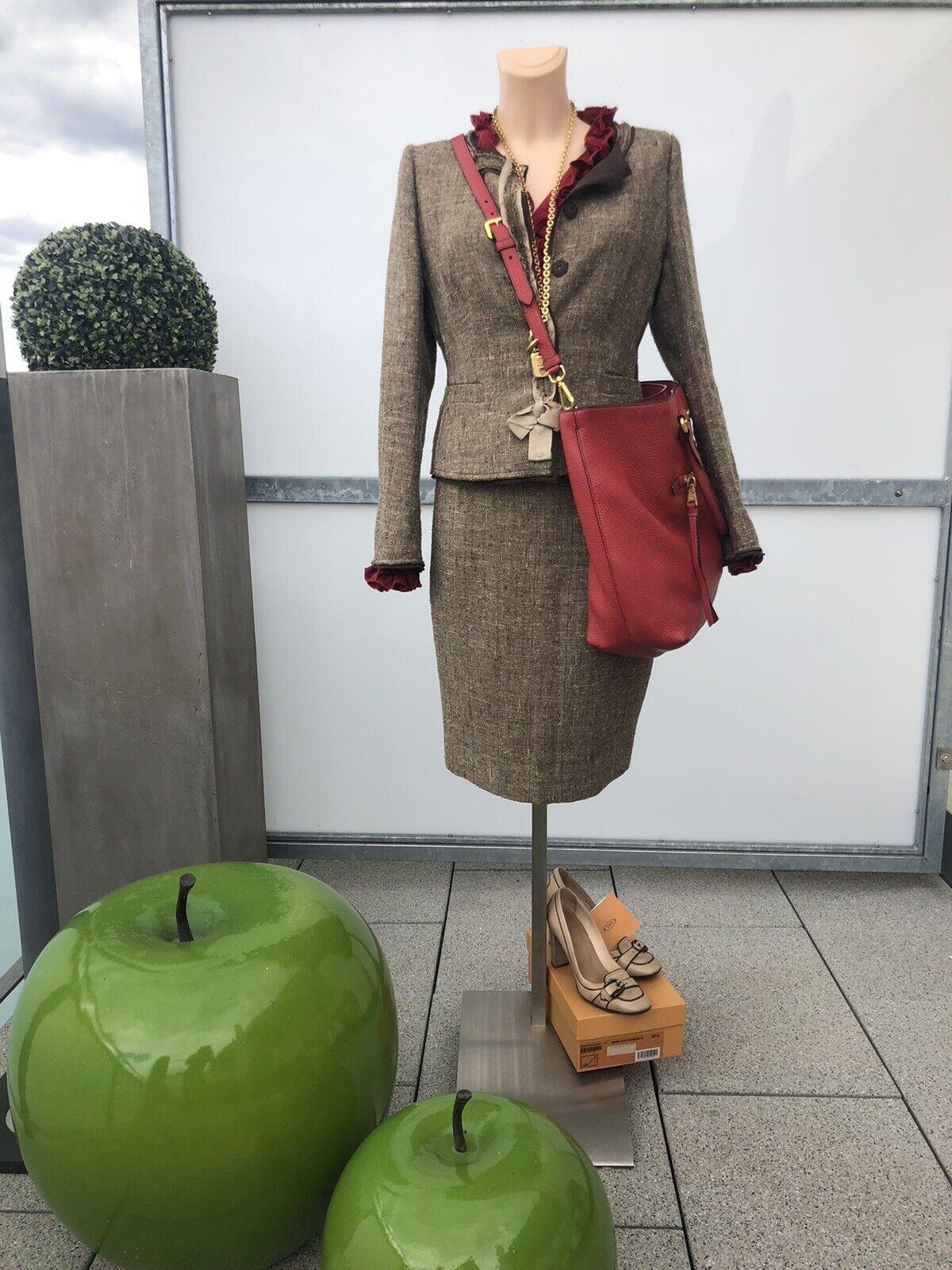 PRADA Dress Skirt Blazer Jacket, 34, Beige/Taupe/Brown
