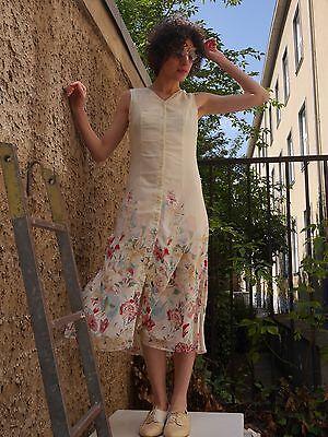 Buono Abito S Abito Estivo 90er Bottoni Floral Grunge True Vintage 90s Sun Dress Maxi-mostra Il Titolo Originale