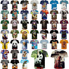 3D Hot Print Patterned Polyester Fashion Soft Thin Men's T-Shirt Top