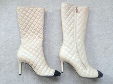 CHANEL DESIGNER AUTHENTIC QUILTED LAMBSKIN LEATHER TAN BEIGE BLACK BOOTS SHOES