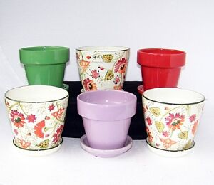 6 set of 6 indoor planters with saucers multiple colors small flower pots catr ebay - Indoor plant pots with saucers ...
