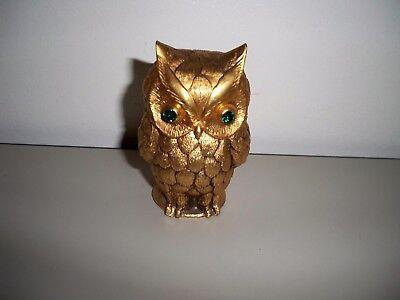 VINTAGE 1964 GOLD TONE / BRASS OWL TABLE LIGHTER TAN 1964 GREEN EMERALD EYES