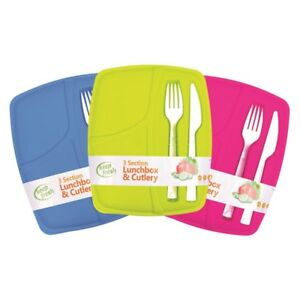 Lunch-Box-Cutlery-Set-3-Compartments-Forks-For-Work-Picnic-Office-School-Lids