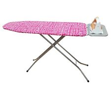 41 Inch Steel Ironing Board With Iron Rest, Made In Turkey, Pink