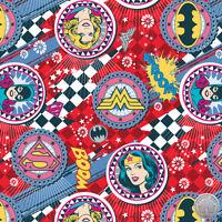 122000026 -New Girl Power II Ruby Badges Wonder Woman Bat Girl Super Girl Fabric