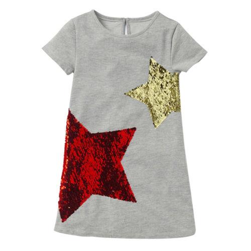 Sequined Stars Girls Dress Summer Casual Dresses Children Wear Clothing Garments