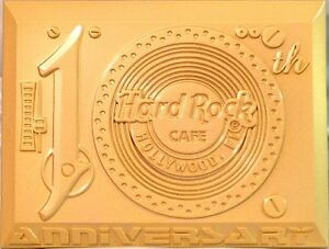 Hard-Rock-Cafe-HOLLYWOOD-FL-2014-10th-Anniversary-MAGNET-Gold-Record-Player-NEW