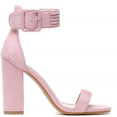BABY LIGHT PINK ANKLE STRAP PEEP TOES STRAPPY SANDALS HIGH