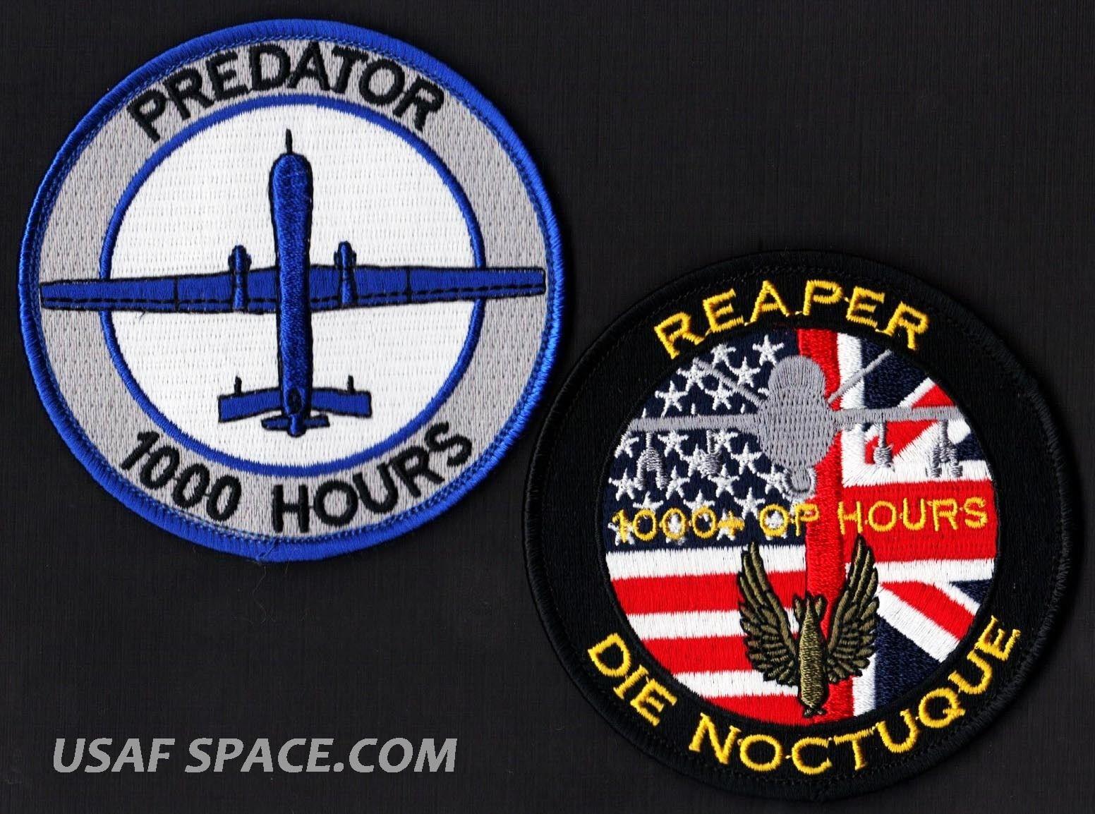 USAF P rojo rojo rojo ator MQ-1 1000 Horas - Royal Air Force Reaper MQ-9 2 Ucav Parche Juego 3ac32e