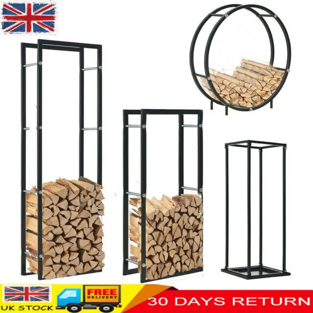Firewood Rack Stand Round Fireplace Steel Holder Basket Log Burner Shelf Black