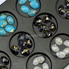 60PCS 3D Cell Phone Nail Art Decorations Oval Resin Flat Back Rhinestones