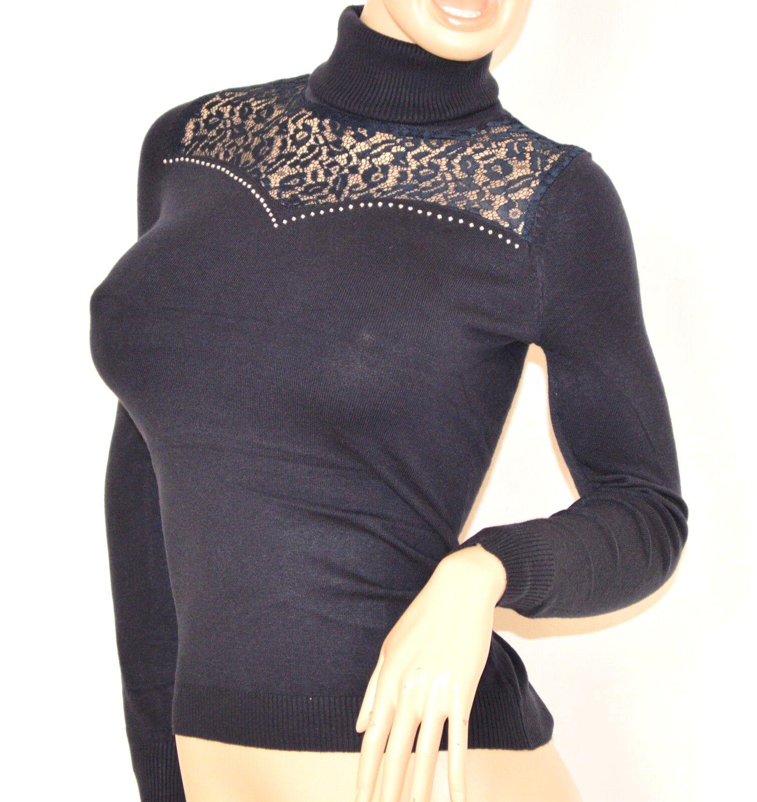 MAGLIETTA BLU collo alto maglione donna ricamato manica manica manica lunga sottogiacca   Z55 c4a508
