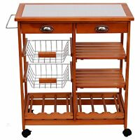 Kitchen Island Trolley Storage Table Wine Rack Metal Basket Wooden Counter Cart