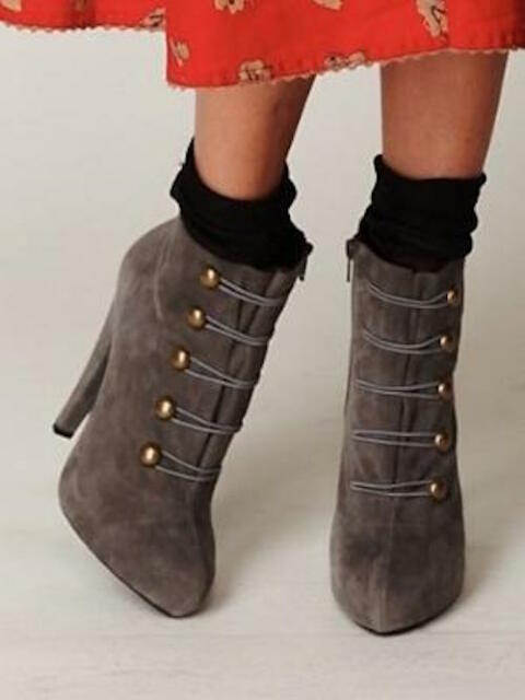 Jeffrey People Campbell Free People Jeffrey Gray Suede Sgt Pepper Platform Stiefel sz ... 3218a0