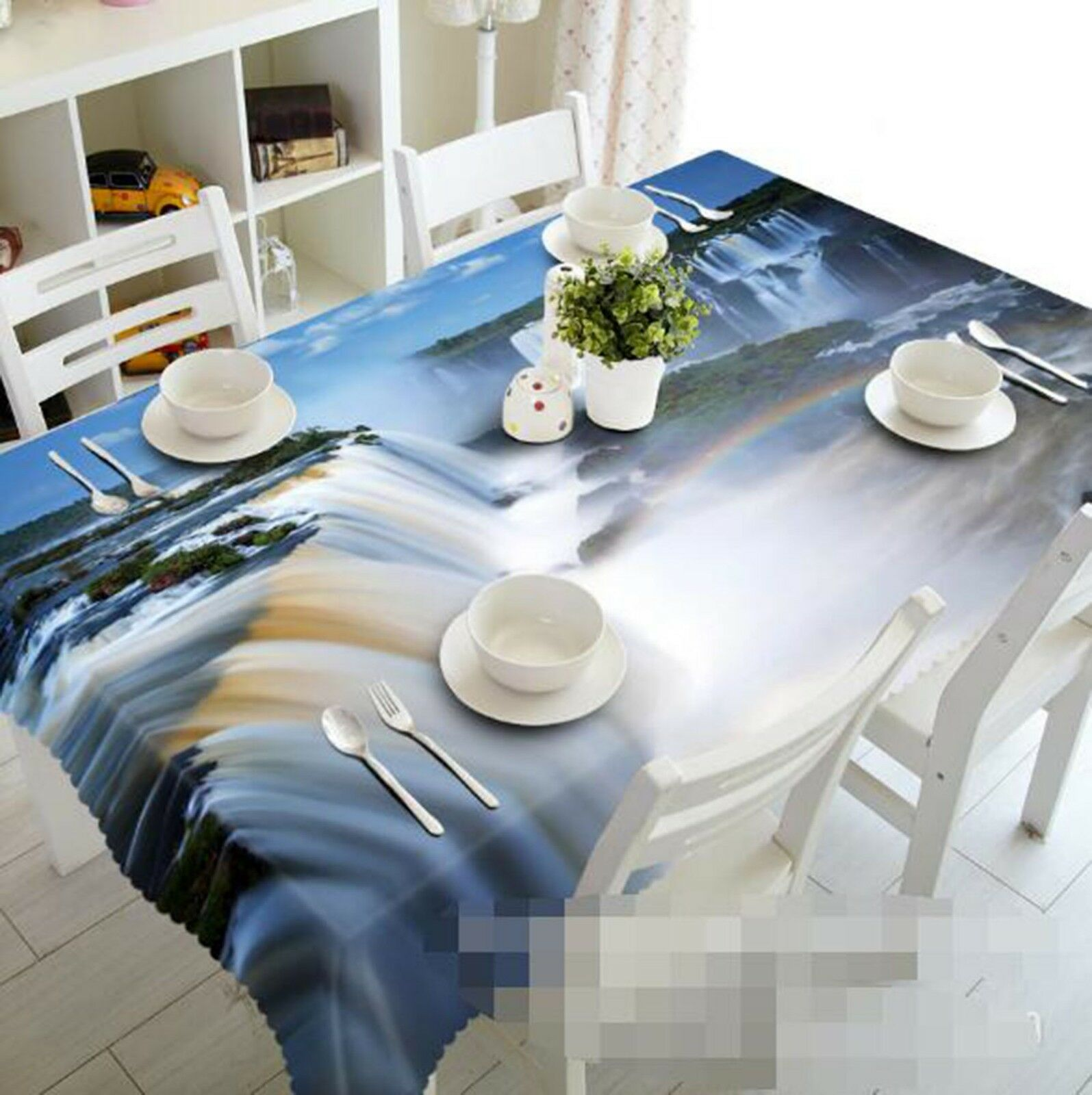 3D Waterfall View 058 Tablecloth Table Cover Cloth Birthday Party Event AJ Lemon