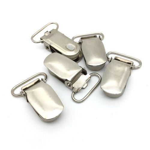 10 Baby Dummy Pacifier Clips Holder Metal Suspender Clip Plastic Insert Ribbon