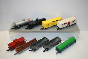 American-Flyer-Rolling-Stock-Lot-of-9-Caboose-Hoppers-Box-Flat-Tankers
