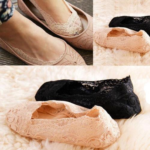 Fashion Women Ladies Summer Cotton Lace Antiskid Invisible Liner Low Cut Socks