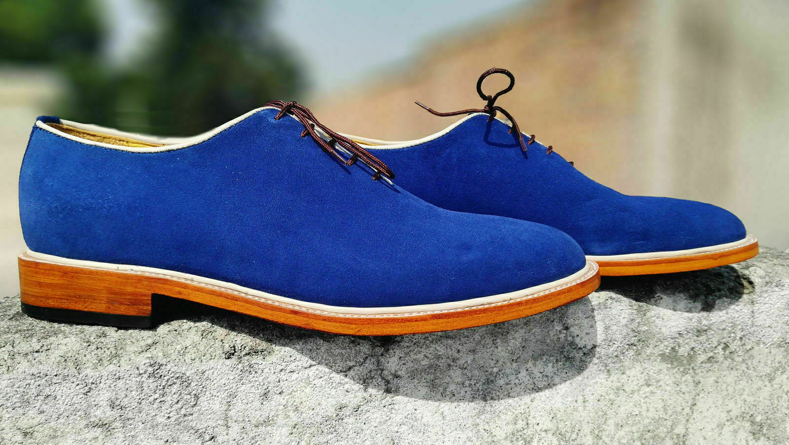 Mens Handmade schuhe Royal Blau Suede Lace Up Formal Dress Casual Wear Stiefel New