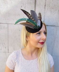 Black Green Pheasant Statement Feather Fascinator Hair Clip Hat 1940s Races 2414