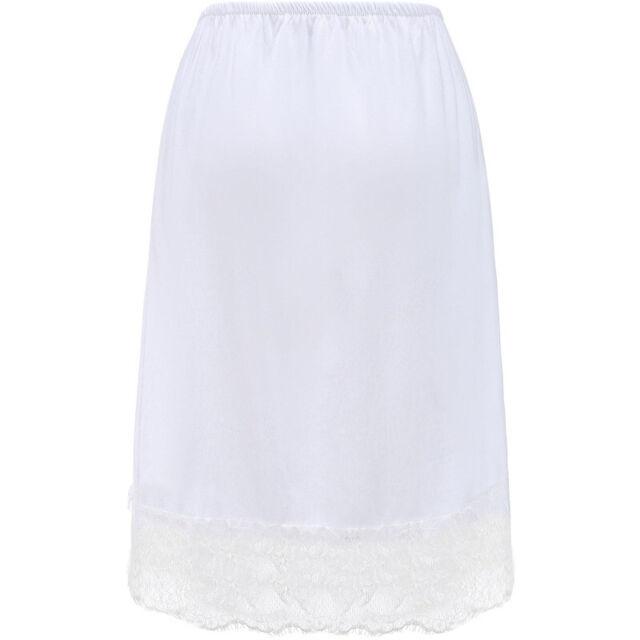 Womens Knee Length Cotton Underskirt Lace Skirt Half Slip Petticoat Safety Dress
