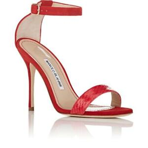 243ab8ae1c8 Manolo Blahnik Women s Chaos bic Suede   Snakeskin Red Ankle Strap ...