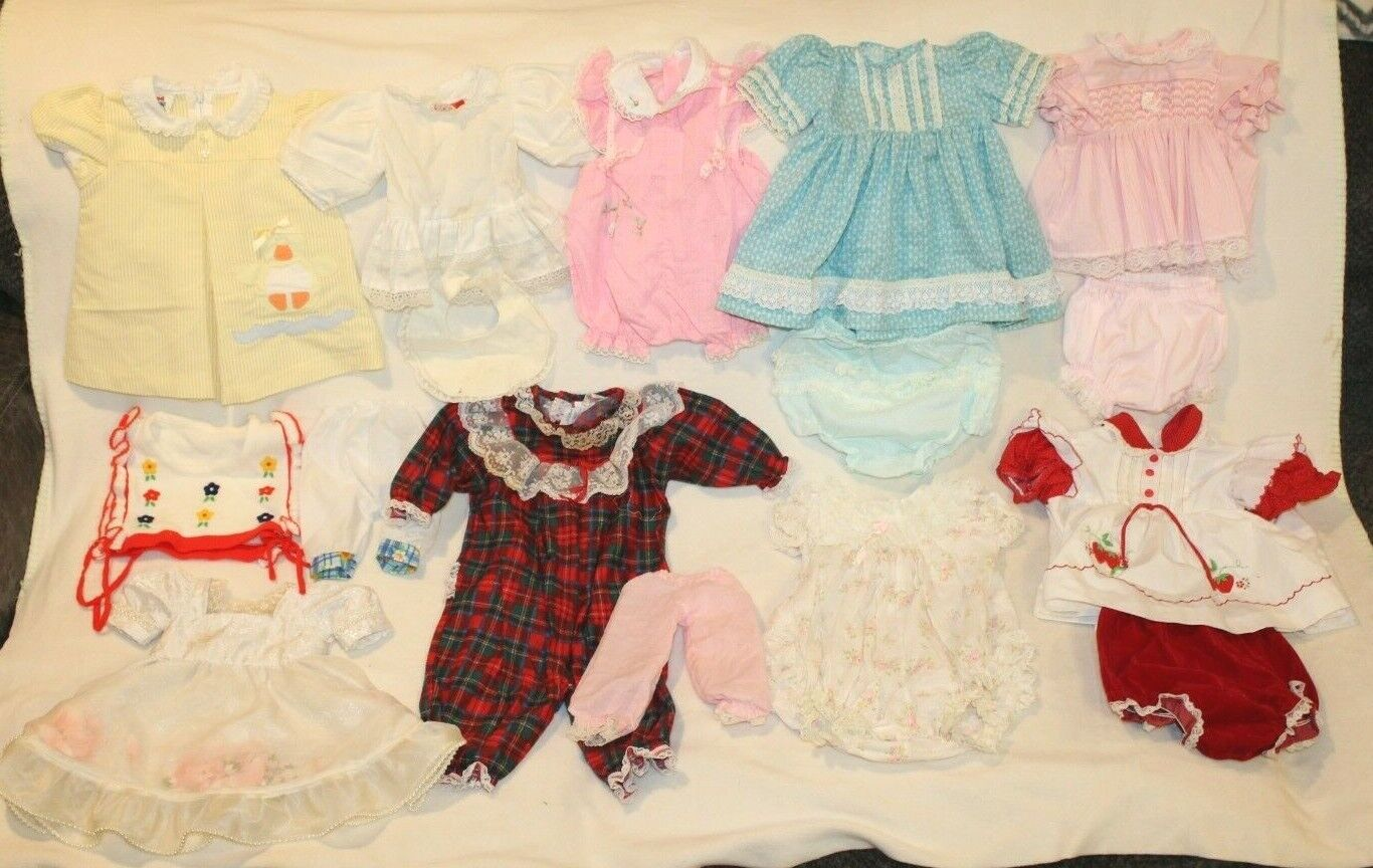 16 Piece Lot Vintage Girls Clothing Doll Clothes Pastel Baby Lacy Outfits Bryan