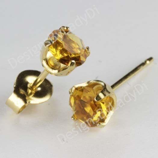 Studex Sensitive Gold 5mm Yellow Topaz November Birthstone Stud Earrings