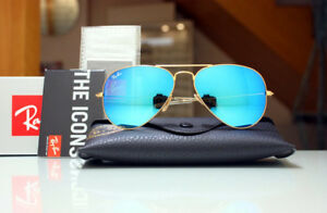 48d8aa3256 New Ray Ban Sunglasses Aviator RB3025 112 17 Gold Frame Blue Mirror ...
