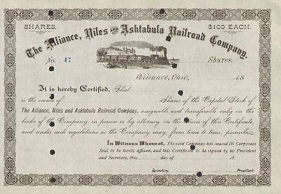 Alliance Niles /& Ashtabula Railroad Company Stock Certificate Ohio