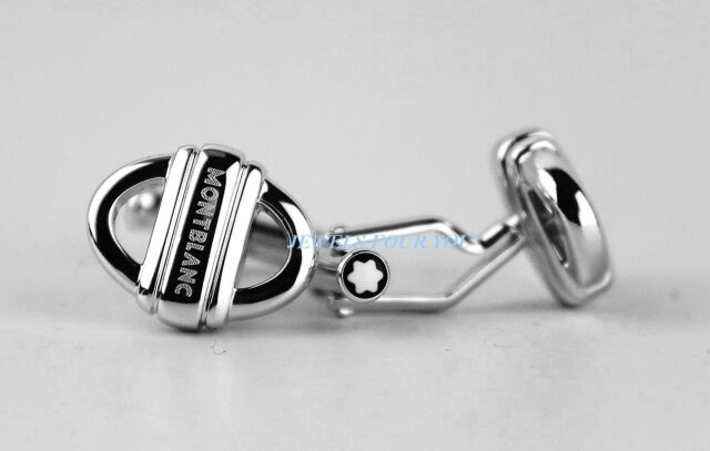 MONTBLANC STERLING SILVER CUFFLINKS OVAL CHAIN 3 RINGS NEW GERMANY 105877 # 11