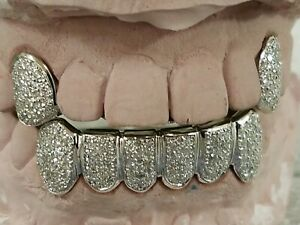 14K Solid Yellow or White Gold 6pc bottom REAL Diamond GRILLZ Gold ... 41d1aaed1