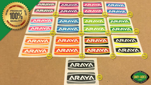 "NEW for 24/"" /& 26/"" 1 PAIR Araya CUSTOM COLOR Rim // Wheel BMX Decal Stickers"