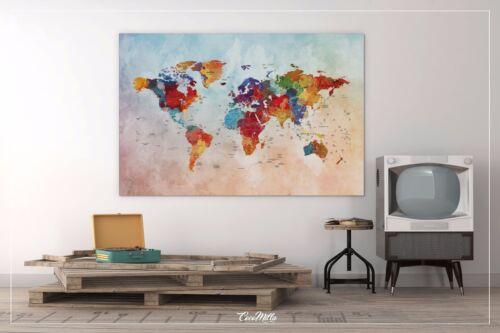Push Pin Map Watercolor World Map Canvas Print Travel World Map Wanderlust Gift