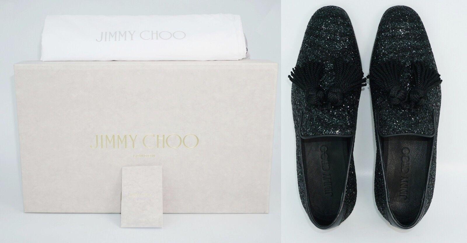 2a5d21832d0 Jimmy Choo Men s  foxley  Coarse Glitter Leather Tassel Loafer Black for  sale online