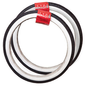 HALFORDS-PAIR-18-X-1-75-47-355mm-BIKE-TYRES-BLACK-WITH-WHITE-WALLS-CHEAP-NEW