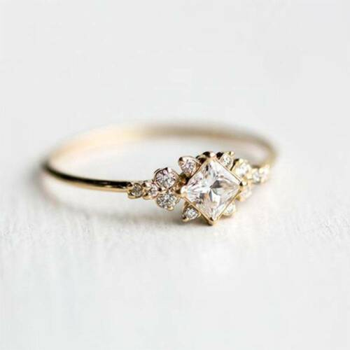 Women Tiny Crystal Ring Gold Color Ring Dainty Ring Stackable Ring Size 6-10