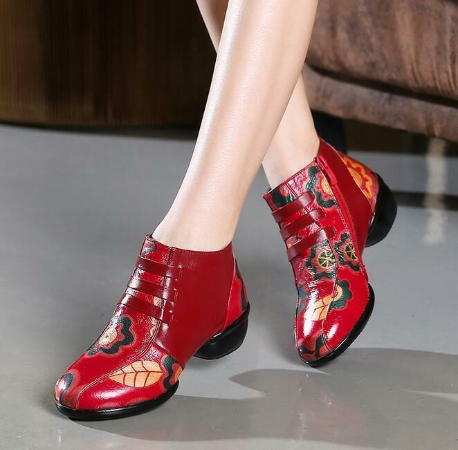 Mujer Retro étnicos Floral Floral Floral Punta rojoonda botas al Tobillo Zapatos informales de baile 35-41 Mamá  buen precio