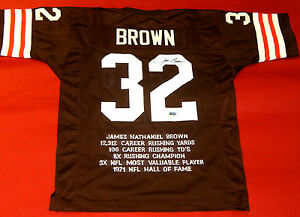 best service 321f7 f6d15 Details about JIM BROWN AUTOGRAPHED CLEVELAND BROWNS STAT JERSEY GRANDSTAND  SPORTS